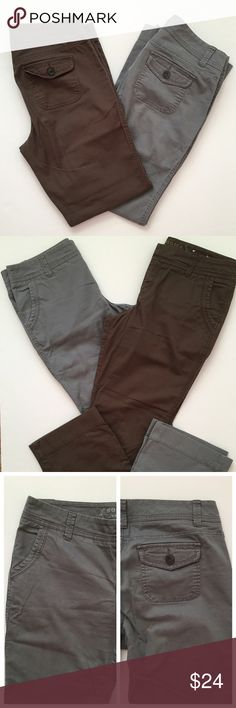 """2 pairs! Modern boot cut utility pants Size 10 Average- Sonoma modern boot cut pants in grey and chocolate brown. 97% cotton, 3% spandex. Each worn no more than three times- just a bit wrinkled from being in storage. Approx. 30"""" inseam; length wound up being just a bit short on me. Sonoma Pants"""