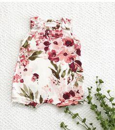 The 'Gwen' Floral Romper, baby girl romper, summer bubble romper, flower harem romper, baby girl clothes, toddler girl romper. afflink