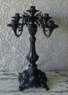 RESERVED Halloween decor BLACK Candelabra by 6miles on Etsy