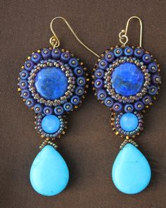 ~~Genuine Lapis & Turquoise Teardrop Earrings by Faria Siddiqui~~