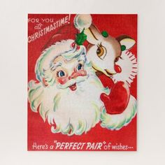 Christmas Santa and reindeer retro vintage puzzle - retro gifts style cyo diy special idea Merry Christmas, Christmas Greetings, Christmas Crafts, Christmas Time, Christmas Decorations, Rudolph Christmas, Christmas Postcards, Christmas Fabric, Christmas Wishes