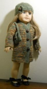 FREE American Girl Knitted Coat Pattern. Link to shoulder bag, hat and a dress. Also view many other free patterns to knit.