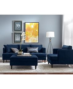 Swan Fabric Sofa, Only at Macy's - Furniture - Macy's Blue Living Room Decor, Simple Living Room, Living Room Sofa, Home Living Room, Living Room Designs, Condo Living, Small Living, Sofa Design, Fabric Sofa