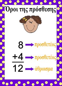 Όροι της πρόσθεσης Math For Kids, Diy For Kids, Learn Greek, Zen, Primary School, School Projects, Special Education, Professor, Classroom