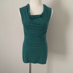 Halogen Nordstrom ▪️ green black Drape Tank Top Green top with black print. Drape neck. Soft fabric. Worn once. Halogen Tops Tank Tops