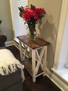 X Side Table Step-By-Step Instructions - Chisel & Fork Side Table Decor, Table Decor Living Room, Sofa Side Table, Room Decor, Side Tables, Diy Furniture Plans, Farmhouse Furniture, Home Furniture, Modern Furniture