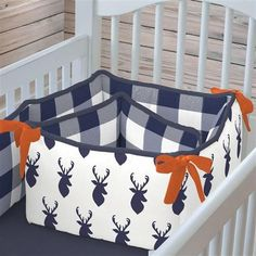 Navy Deer Woodland Crib Bumper made with care in the USA by Carousel Designs.