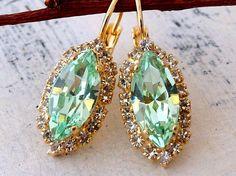 Mint crystal earrings Drop earrings Bright by EldorTinaJewelry