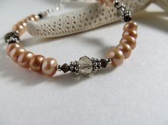 Pearl Bracelet Swarovski Crystal Bracelet Sterling Silver