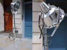 Fully restored. Rewired. Mirror polish. Ex-royal navy. Articulated stand. 300W.  origin: UK  year: 1950