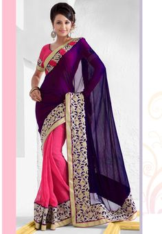 Blue and Pink Faux Georgette and Art #SilkSaree with Blouse Online Shopping: SXZ1195 - $90