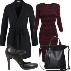 Questo outfit è composto da un abitino a righe nere e bordeaux, un cappottino a vestaglia nero, una borsa da portare sia a mano che a tracolla e questo particolare modello di scarpe a metà tra una Mary Jane e una décolleté.
