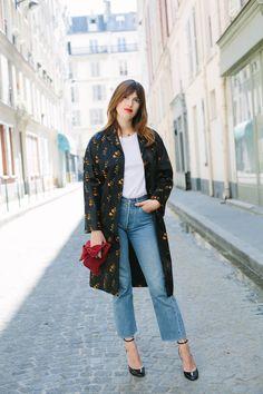 Jeanne Damas - Miu Miu coat, American Apparel shirt, Levi's 501 jeans, Valentino shoes, Loewe bag