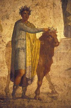 Jason devant Pélias / Peint. murale rom. Peinture murale romaine,1° s. après JC. Jason devant Pélias. Provenance : Pompéi, Casa di Jasone.