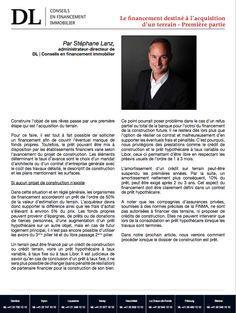 #Conseil #Immobilier #Financement #Investissement #Banque: Faire un emprunt pour financer son terrain. 1/2 Dans votre #IMMOmagazine No.22