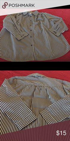 Dress Shirt Striped Dress Shirt Burgundy White - Never Worn Roaman's Tops Button Down Shirts
