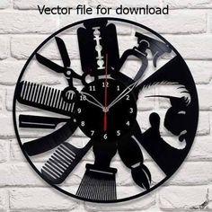 Barber Shop Clock Plans - Beard Moustache Hair Styling - svg cdr dxf pdf files - Files for Laser Cutting Printing CNC Engraving Clipart Wall Clock Craft, Wall Clock Design, Clock Art, Diy Clock, Wall Clocks, Cnc Plasma, Plasma Cutting, Laser Cnc, 3d Laser Printer
