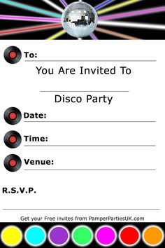 Invitations   Free Disco Party Invitations - Disco Invites