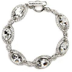 Givenchy Bracelet, Silver-Tone Swarovski Element Bridal Bracelet (€85) ❤ liked on Polyvore featuring jewelry, bracelets, no color, bridal jewellery, bride jewelry, mixed-metal jewelry, bridal jewelry and givenchy