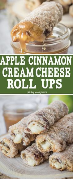 Apple Cinnamon Cream Cheese Roll-Ups, apple cream cheese rolled inside cinnamon swirl bread and baked to crunchy, creamy deliciousness. Easy Desserts, Delicious Desserts, Dessert Recipes, Yummy Food, Bar Recipes, Recipes Dinner, Pasta Recipes, Soup Recipes, Breakfast Recipes