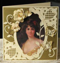 vintage image from a decoupage mag, handmade flowers, anja corners