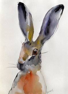Hare  original abstract colorful watercolor painting.