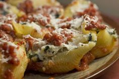 The Nummy Little Blog: Sausage and Cottage Cheese Stuffed Shells Casserole