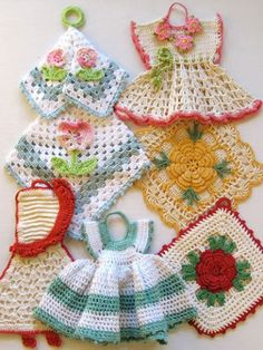 crochet potholders. My Italian neighbor used to sit on her front porch all summer and make things like this. xo