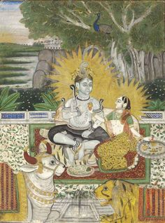 Shiva and Parvati seated on a terrace. Jodhpur, 19th century.