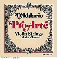 D'Addario Pro-Arte 1/8 Violin E String Medium Gauge Steel by D'Addario. $2.63. Exceptional strings for serious students and amateur players. Pro-Arte strings have a warm sound, are less sensitive to humidity and temperature changes, and break in quickly.