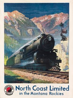 Northern Pacific - North coast limited in the Montana Rockies - 1929 - artist : Gustav W. Krollmann -