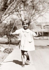Jumping rope up and down the sidewalk all the time.