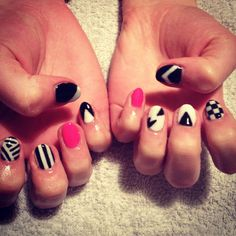 Monochrome pattern with neon pink