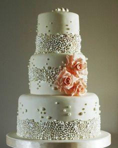Modern elegant white pearl cake