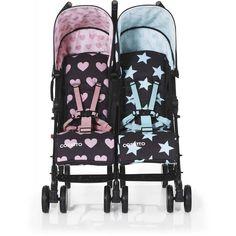 Cosatto Supa Dupa Go Lovestar Stroller - Urban Stroller Baby Cribs For Twins, Boy Girl Twins, Newborn Twins, Twin Girls, Twin Strollers, Double Strollers, Urban Stroller, Girls Furniture, Twin Outfits