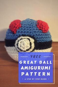 Create your own Great Balls of fire with this ultra geeky Great Ball amigurumi pattern! 100% soft! Throw them at your loved ones and CATCH THEM ALL!  This pattern includes updated instructions for making the base pokeball, the front button, and the red panels that appear on both sides of the Great Ball. You will need blue, white, black, and red yarn, a size E hook, yarn needle, scissors, and stitch markers.