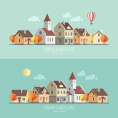 Building Illustration, Flat Design Illustration, Illustration Vector, House Illustration, Landscape Illustration, Ppt Design, Icon Design, Vector Design, Vector Art