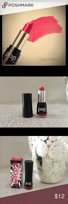 💄POP Beauty Lipstick💄Cozy Crimson NEW IN BOX. A Matte Velvet Lipstick from POP BEAUTY; Colour true & Pigment-rich this stay put lipstick is enriched with Vitamin E to protect and nourish. PARABEN FREE. Color is Cozy Crimson. Pop Beauty Makeup Lipstick