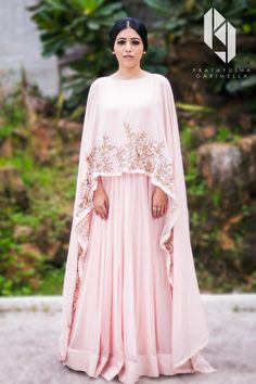 Shop Prathyusha Garimella Blush pink & gold embellished cape gown , Exclusive Indian Designer Latest Collections Available at Aza Fashions Islamic Fashion, Muslim Fashion, Indian Fashion, Pakistani Outfits, Indian Outfits, Abaya Fashion, Fashion Dresses, Cape Gown, Mode Simple