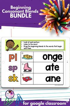 Are you looking for NO PREP and FUN activities to help you teach and practice initial consonant blends? How about all digital activities where your kindergarten, first grade, or second grade students can practice in an interactive way? This product has numerous activities for beginning blends and covers S Blends, R Blends, L Blends, and Mixed Blends. In activities where they are reading or spelling the words the words have short vowels. Try these first grade activities made in Google… First Grade Phonics, First Grade Activities, Fun Activities, Letter Blends, Possessive Nouns, Consonant Blends, Teaching Phonics, Short Vowels, Second Grade
