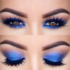 """#MOTD @anastasiabeverlyhills """"Brow Wiz"""" pencil and """"Clear"""" brow gel Mac """"Saddle"""" on the crease @anastasiabeverlyhills """"Star Cobalt"""" on the lid. @houseoflashes """"Iconic"""" lashes. Mac """"Feline"""" on the waterline. @toofaced """"Better Than False Lashes"""" mascara"""
