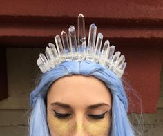 Crystal Crown - The Princess [Polished Clear Crystal Quartz Tiara / Crown], Mermaid Crown, Crystal Headpiece, Quartz Tiara, Gemstone Crown Crystal Crown, Clear Quartz Crystal, Crystal Jewelry, Mermaid Crown, Feet Nails, Tiaras And Crowns, Queen, Black Crystals, Summer Hairstyles