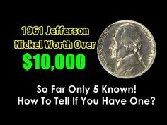 In this video, we take a look at a rare 1961 Jefferson nickel that sold for over ten . Valuable Coins, Valuable Pennies, Old Coins Worth Money, Rare Pennies, American Coins, Coin Worth, Coin Values, Antique Coins, Coins For Sale