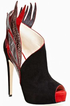 fcdaa03614f Brian Atwood Black Open-Toe Booties with Red Flame Details  Shoes  Heels