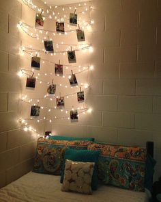 11 bedroom decor ideas that will make your dull uni bedroom instantly better Have a load of fairy lights left over from a Christmas party; Decoration Bedroom, Diy Room Decor, Room Lights Decor, Wall Lights, Lights In Dorm Room, Wall Decor, String Lights In The Bedroom, Christmas Lights In Bedroom, Diy Christmas