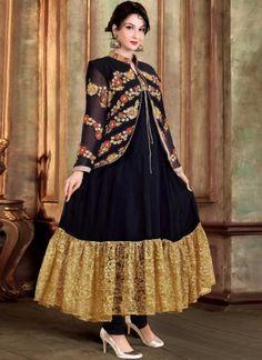 Saumya Tandon Black Embroidery Work Georgette Anarkali Suit http://www.angelnx.com/Salwar-Kameez/Anarkali-Suits