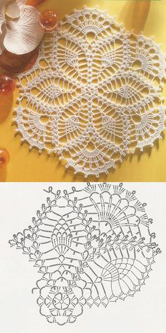 With more than 100 free crochet doily patterns to make you will never be bored! Traditional lace doilies, round doilies, oval doilies and more! Free Crochet Doily Patterns, Crochet Doily Diagram, Crochet Symbols, Crochet Chart, Thread Crochet, Crochet Doilies, Tatting Patterns, Lace Doilies, Pineapple Crochet