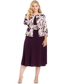Jessica Howard Plus Size Empire-Waist Dress & Printed Jacket