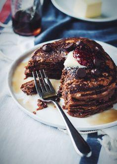 Chocolate Raspberry Swirl Pancakes - Blogging Over Thyme