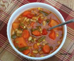 Super Hearty Vegetable and Bean Soup for the Slow Cooker #skinnyms #cleaneating #vegetarian #slowcooker #recipes
